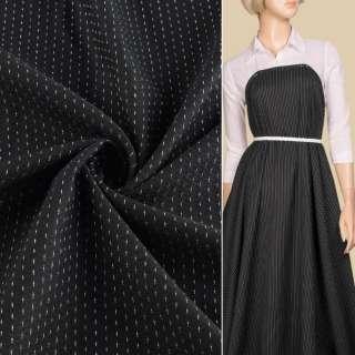 Жаккард черный в черные ромбы с белыми штрихами, ш.140 оптом