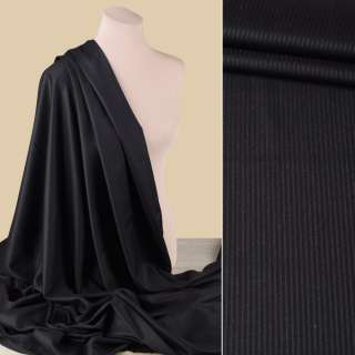 Тканина костюмна з віскозою чорна у чорну смугу, ш.150 оптом