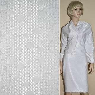 Ткань жаккардовая белая в мелкий горох ш.150 оптом