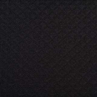 Жаккард черный в блестящие ромбы, ш.150 оптом