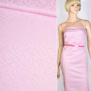 Коттон-жаккард розовый в цветы ш.150 оптом