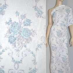 Жаккард белый с серо-голубыми цветами ш.145 оптом