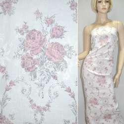 Жаккард белый с серо-розовыми цветами ш.145 оптом