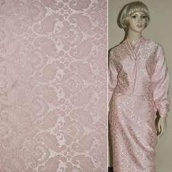 Жаккард костюмный розовый с тисненым рисунком ш.150