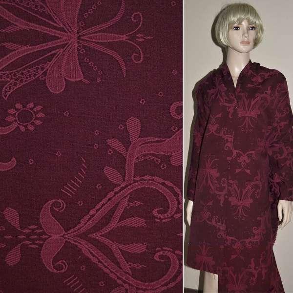 Жаккард костюмный бордовый с абстрактным рисунком оптом