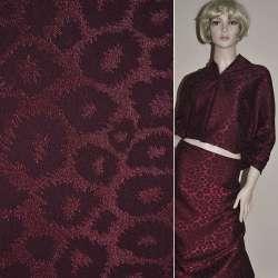 Жаккард костюмный бордовый темный с рваными кольцами ш.150 оптом