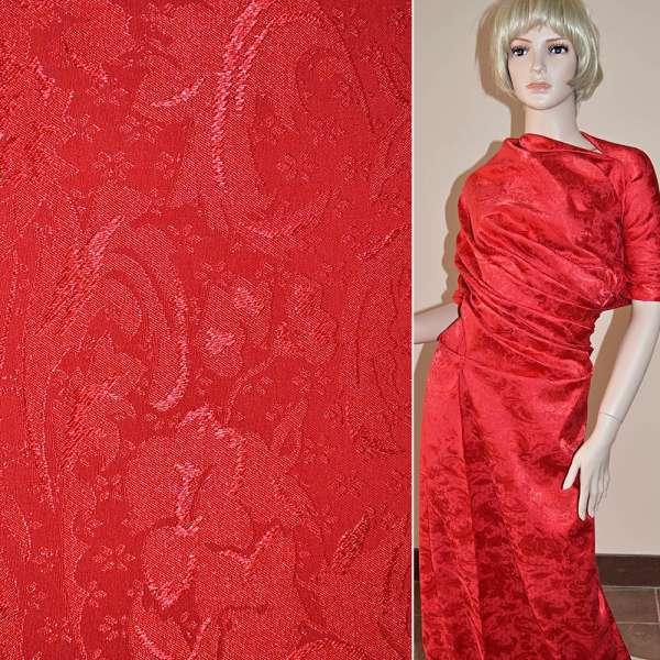 Жаккард красный в абстрактный рисунок ш.150 оптом