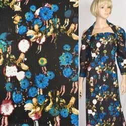Рогожка черная в синие и бежевые цветы, ш.150 оптом