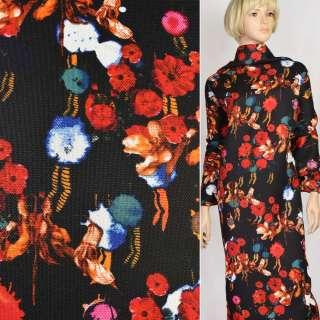 Рогожка черная в красные и оранжевые цветы, ш.150 оптом