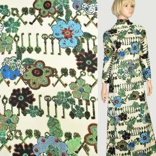 Рогожка соты кремовая в коричневые ключи и зеленые цветы, ш.150 оптом