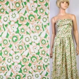 Жаккард стрейч зеленый в в бежево-белые цветы ш.137 оптом