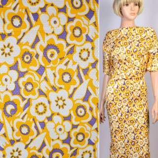 Жаккард стрейч сиреневый в желто-белые цветы ш.135 оптом