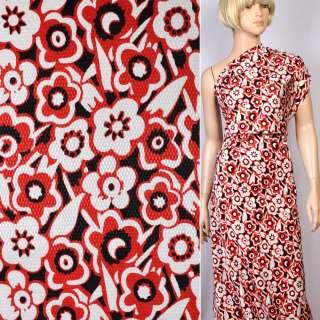 Жаккард стрейч черный в красно-белые цветы ш.130 оптом
