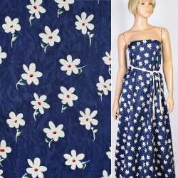 Жаккард синий в белые цветы, ш.147 оптом
