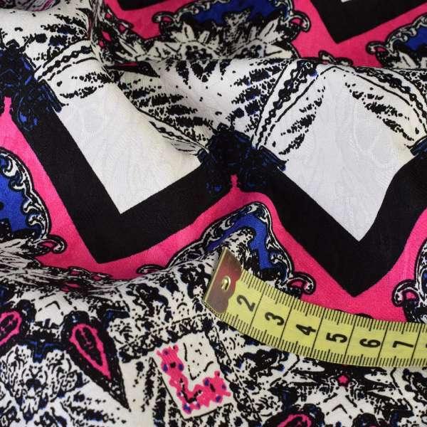 Жаккард стрейч белый в черно-малиновый орнамент, ш.145 оптом