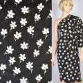 Коттон жаккард стрейч черный в белые цветы, ш.148 оптом