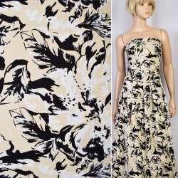 Коттон-жаккард стрейч бежевый в черно-белые цветы ш.145 оптом