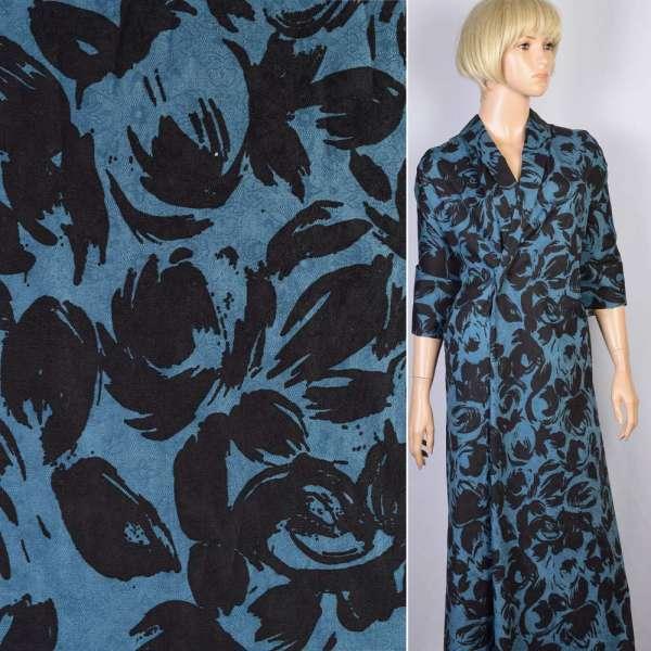 Коттон-жаккард стрейч синий в черные цветы-абстракцию ш.140 оптом