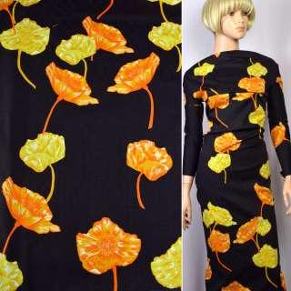 Коттон-жаккард стрейч черный в оранжево-желтые цветы ш.145 оптом