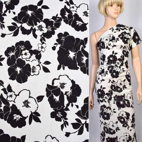 Коттон-жаккард стрейч белый в черные цветы ш.150 оптом