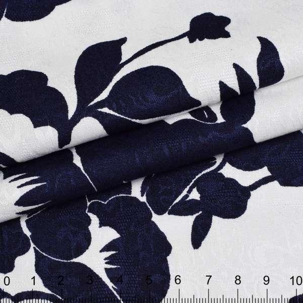 Коттон-жаккард стрейч белый в синие цветы ш.150 оптом