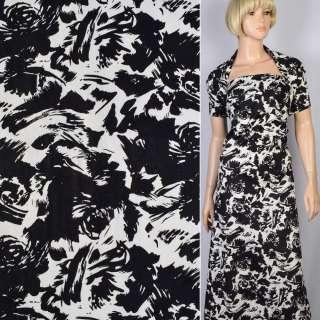 Коттон-жаккард стрейч белый в черный цветочную абстракцию ш.145 оптом