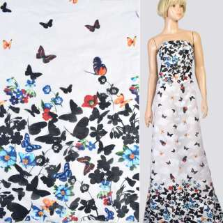 Коттон жаккард белый в голубые, черные цветы, бабочки, купон, ш.147 оптом