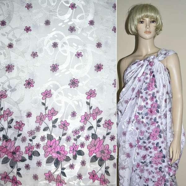 Жаккард белый, 2-ст. купон в розовые цветы ш.140 оптом