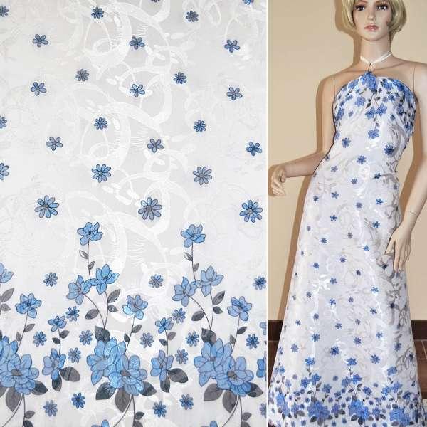 Жаккард белый, 2-ст. купон с синими цветами ш.140 оптом