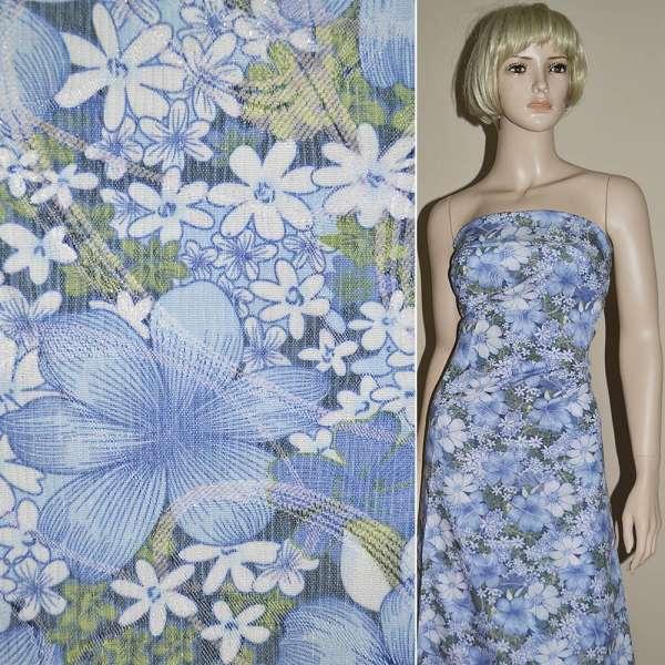 Жаккард костюмный в бело-голубые цветы с люрексом ш.130 оптом