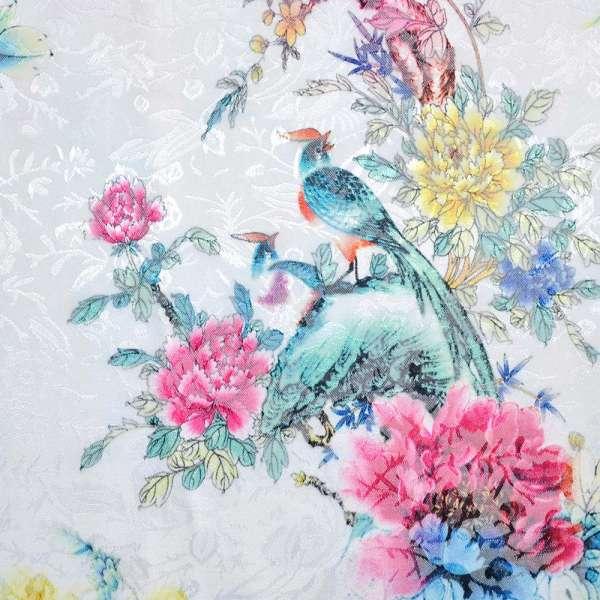 Жаккард стрейч белый с желто-розовыми цветами и птицами ш.145 оптом