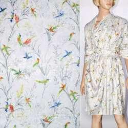 Жаккард белый с разноцветными птицами ш.145 оптом