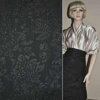 Жаккард костюмный черный с цветным люрексом в розы и хризантемы, ш.150 оптом