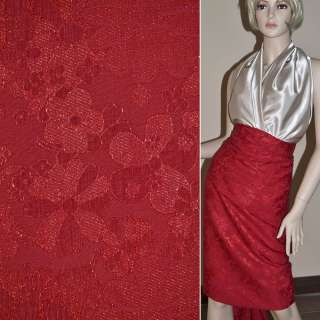Жаккард костюмный красный с люрексом в ромашки, ш.150 оптом