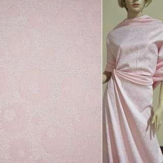 Жаккард костюмный розовый с переливающимся люрексом в круги, ш.150 оптом