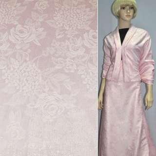 Жаккард костюмный розовый с цветным люрексом в розы и хризантемы, ш150 оптом