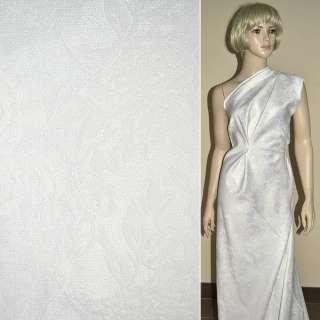 Жаккард костюмный белый с люрексом в розы и хризантемы, ш150 оптом