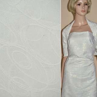 Жаккард костюмный белый с серпантином и переливающимся люрексом, ш.150 оптом