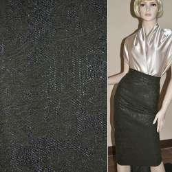 Жаккард костюмный черный с тисненым рисунком и переливающимся люрексом, ш.150
