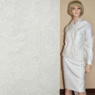 Жаккард костюмный белый с тисненым рисунком и переливающимся люрексом, ш.150 оптом
