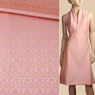Жаккард стрейч бавовняний рожево-салатовий візерунок ш.133 оптом