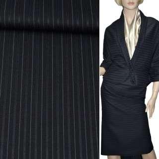 Ткань костюмная с вискозой черная в зеленую и серую узкую полоску, ш.150 оптом