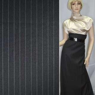 Ткань костюмная с вискозой черная в серую и розовую узкую полоску, ш.150 оптом