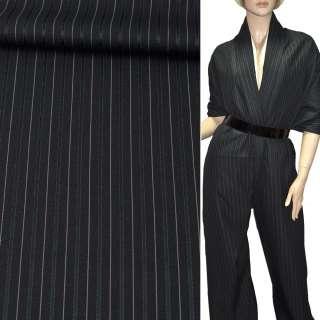 Ткань костюмная с вискозой черная в темно-серую и бежевую узкую полоску, ш.150 оптом
