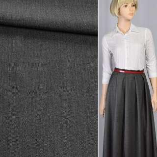 Ткань костюмная с вискозой в елочку мелкую черно-серая, ш.145 оптом