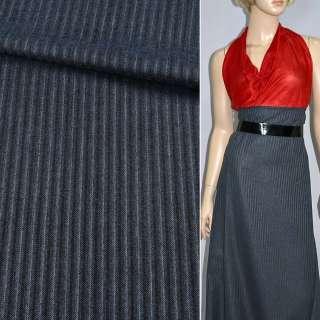 Ткань костюмная с вискозой серая темная полоску в коричневую , ш.150 оптом