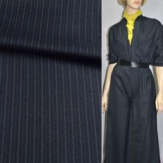 Ткань костюмная с вискозой синяя темная в полоску, ш.150 оптом