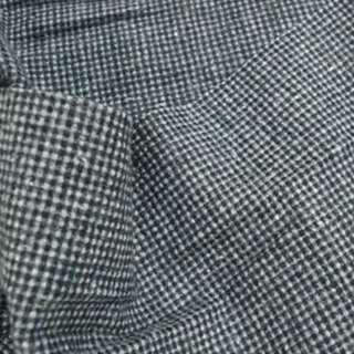 Ткань костюмная с шерстью в мелкую серо-молочную клетку ш. 150 оптом