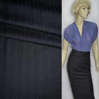 Ткань костюмная с вискозой черная в светлые полоски, ш.155 оптом