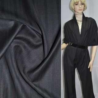 Ткань костюмная с вискозой черная в темно-бордовую полоску, ш.155 оптом